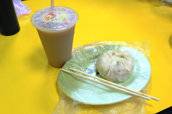 Shui jian bao (water-fried buns), golden-bottomed and juicy. Filled with either pork or cabbage. Both are amazing. Plus one of Taiwan's most ingenious brainchilds: BUBBLE MILK TEA.