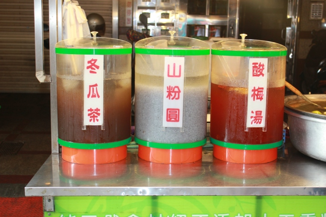 Various Taiwanese drinks. Including my all-time favorite (leftmost), iced wintermelon tea!
