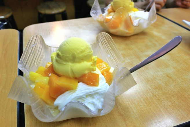 Mango shaved ice. Those crappy American things can't even compare (they're literally smashed ice cubes with saccharine artificial flavors poured on top). Taiwanese shaved ice is so finely ground that the texture is softer than snow, and sweetened with condensed milk. So good.